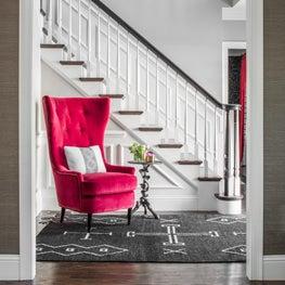 Neutral Foyer with a Pop of Fuchsia Velvet