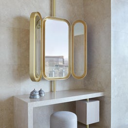 Cosmopolitan of Las Vegas - ivory onyx vanity table, gold leaf mirror