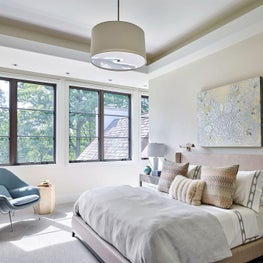 Master Bedroom, Cream Walls, Pink Headboard, Texture Pillows, Neutral Palette, Missoni Home, Blue Chair - Glencoe Contemporary Project