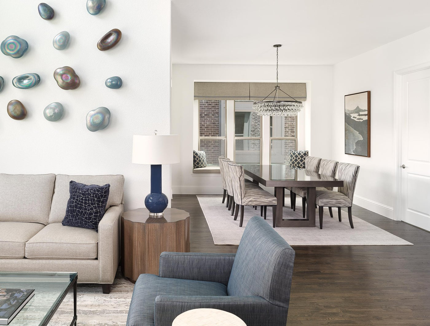 Frisco, TX Living/Dining Room with Glass Wall Art