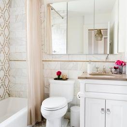 Beige and White Marble Master Bath - Irvington, New York