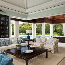 Florida Gathering Room and Lanai with Pool by Diane Burgoyne Interiors