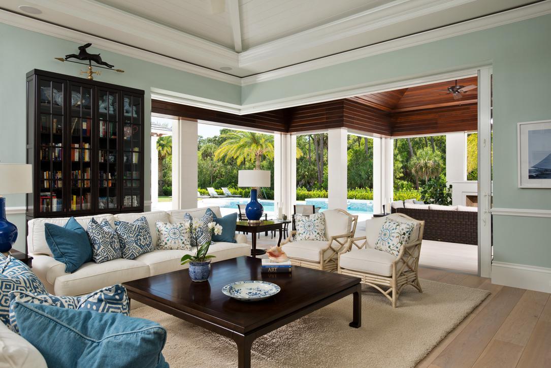 Florida Gathering Room and Lanai with Pool by Diane Burgoyne Interiors