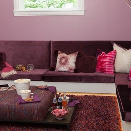 Cushioned and comfy, the window seat doubles as a day bed for sleep-overs.