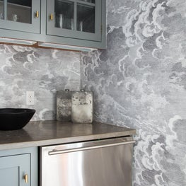 Modern Farmhouse Bar with Wallpaper