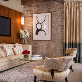 New Orleans Penthouse Master Bedroom, Antique Brick & Mahogany Wall