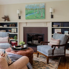 Renovated Living Room with Fireplace in Sudbury 1970s Colonial