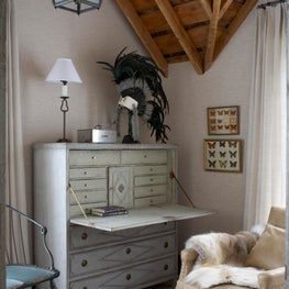 Montana luxury ranch guest house office with linen walls and exposed ceiling