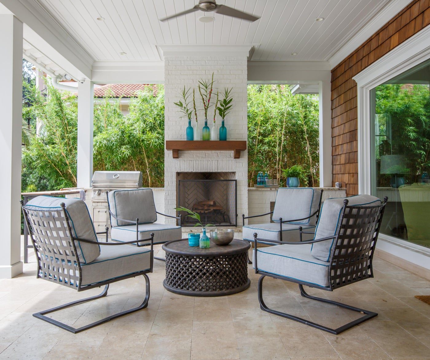 Family Residence, Jacksonville, Fl. Porch with Outdoor Fireplace.