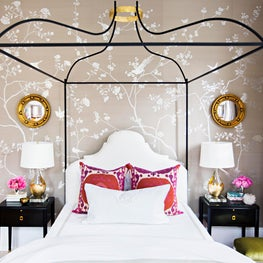 New Orleans Bedroom, Degournay Chinoiserie Wallpaper, Suzani Pillows, Iron Bed