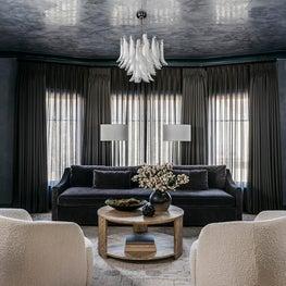 Living room in a Marina Residence, custom plaster ceiling. Designed by Lindsay Gerber.