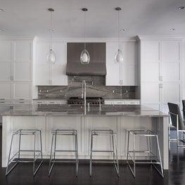 Modern Grey and White Kitchen with Stone Backsplash