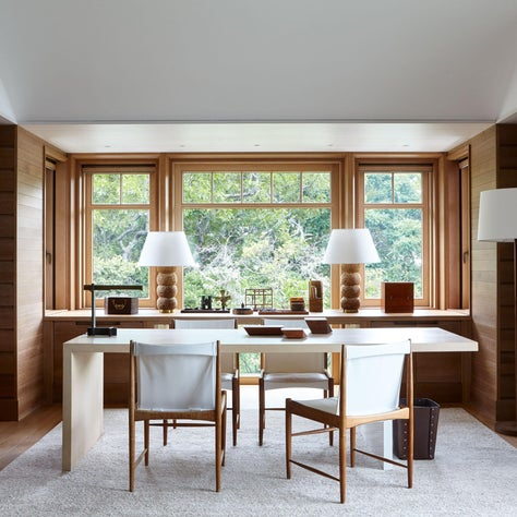 Mid Century Modern Style New England House Wood Paneled Home Office