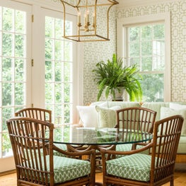 Garden Room/Breakfast Room with Upholstered Wicker Furniture, Bamboo Lattice Wallpaper and Gilt Chinoiserie Pagoda Chandelier