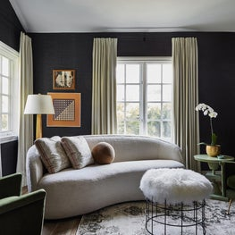 Sitting Room with Boucle, Grasscloth & Turkish Rug