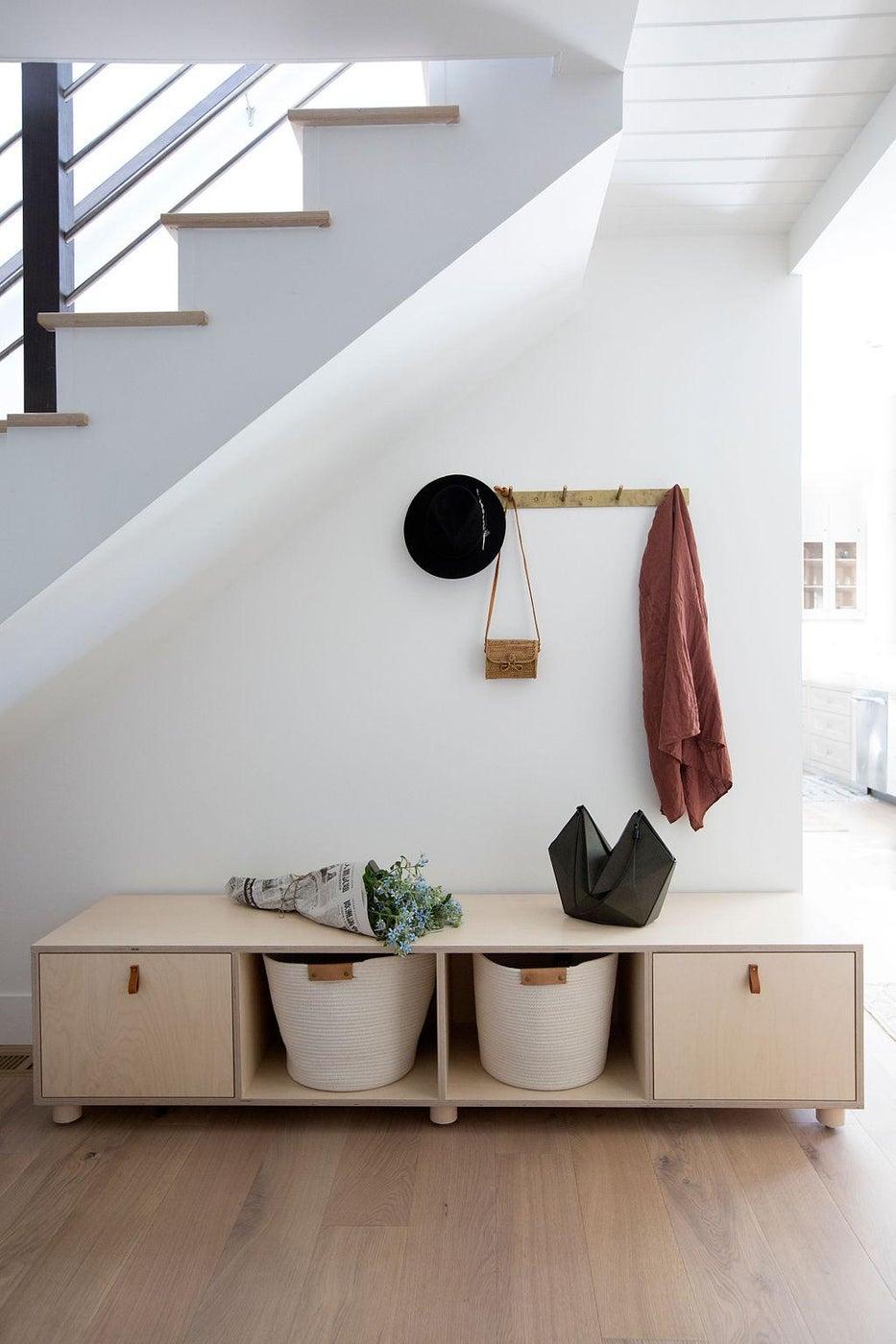 Modern Portola Valley Home, Mudroom with Custom Birch Ply Bench + Brass Pegrail