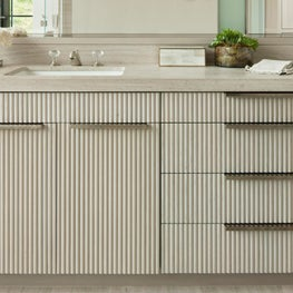 Custom Bathroom Vanity with Ribbed Detail Drawer Fronts