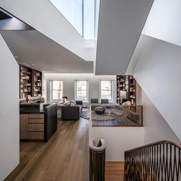 Upper East Side Townhouse, Library and Rooftop Stair