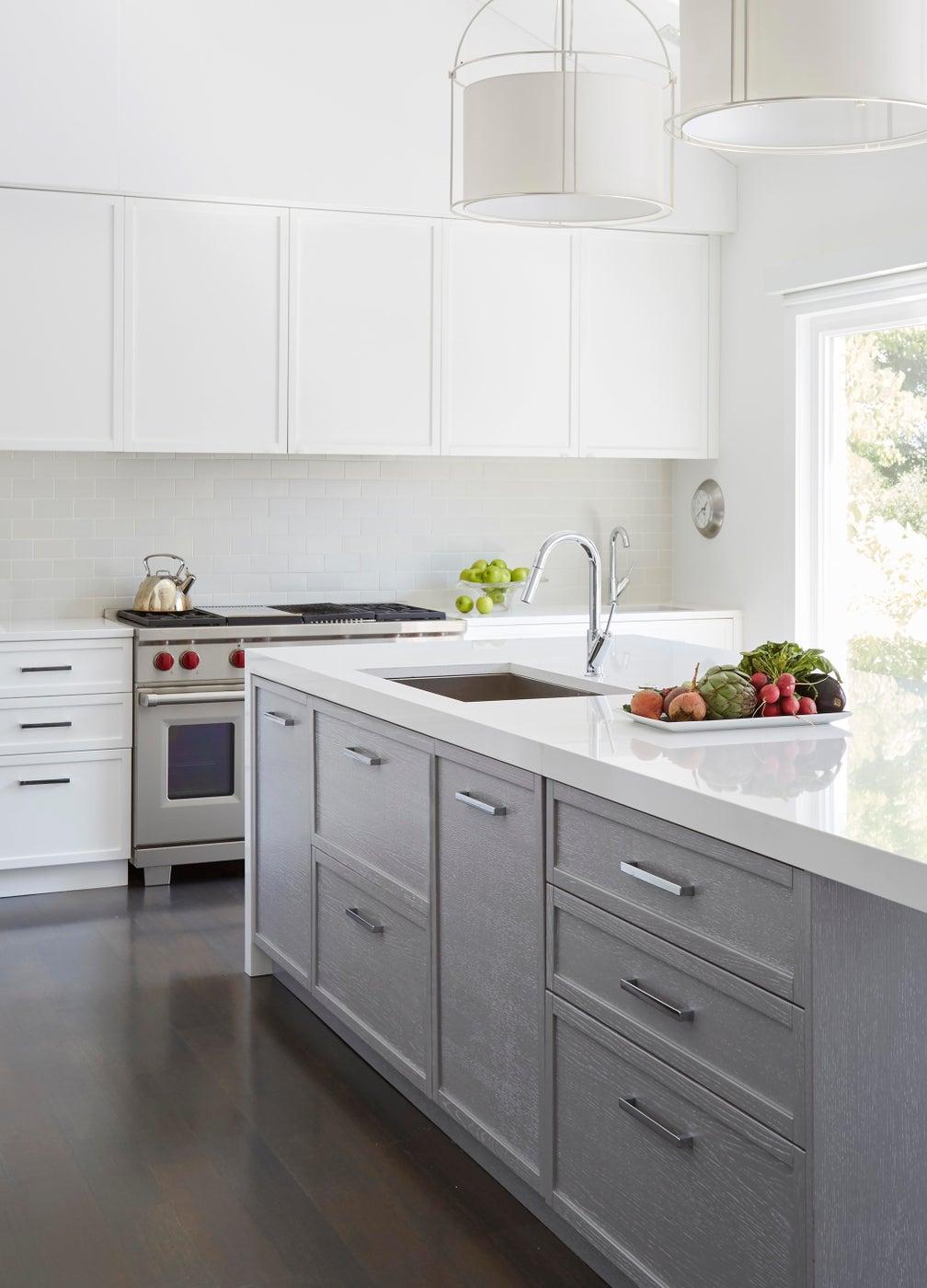 White Modern Kitchen Gut Rehab in Wilmette, IL, Kitchen Island