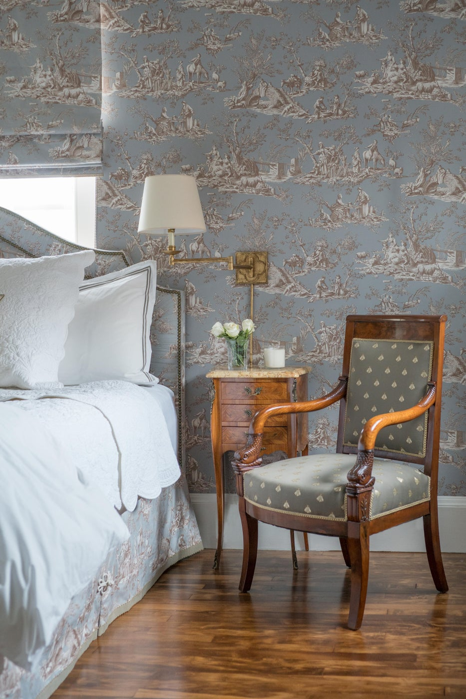 Traditional Toile Bedroom in Beacon Hill