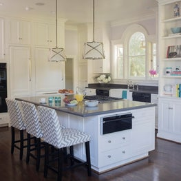 Eat In Kitchen with Chevron Stools and Center Island