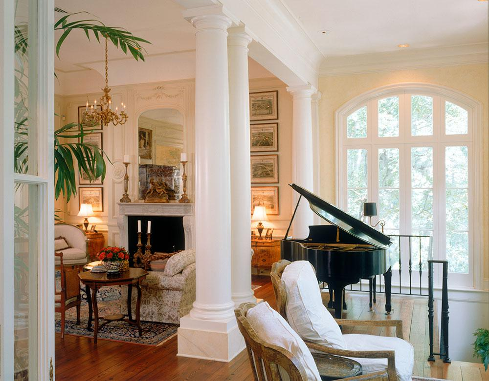 Country French Sunroom/ Living Room with 15' ceilings.