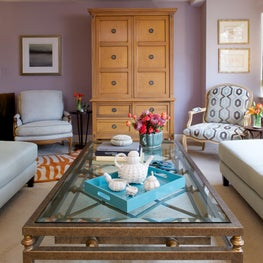Living in lavender, celadon Louis XV chairs, trellis table & neoclassic armoire