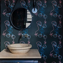 Powder Room with Eclectic Home Wallpaper
