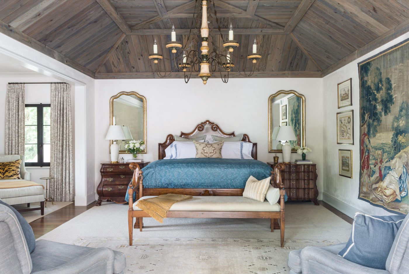 Master Bedroom With Pecky Cypress Ceiling