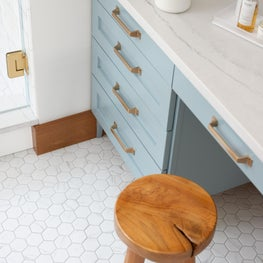bathroom custom vanity/hex tile flooring/brushed gold cabinet hardware