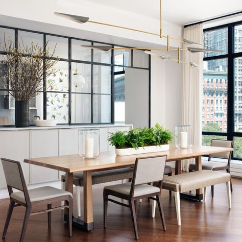 Modern Dining Room with Glass Wall