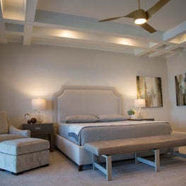 Gulf Front Residence, Master Bedroom with coffered ceilings and gulf views