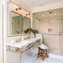 Nickel washstand, patterned backsplash, marble tile