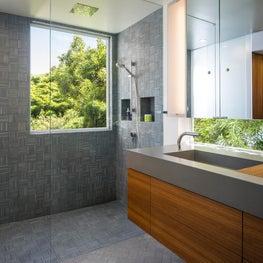 Treetop Bathroom with Concrete & Teak Vanity and Handmade Porcelain tiles