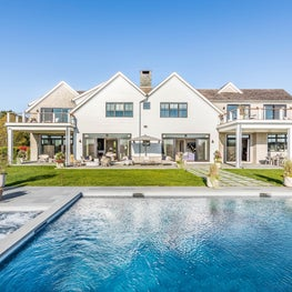 Pool and backyard seating and dining