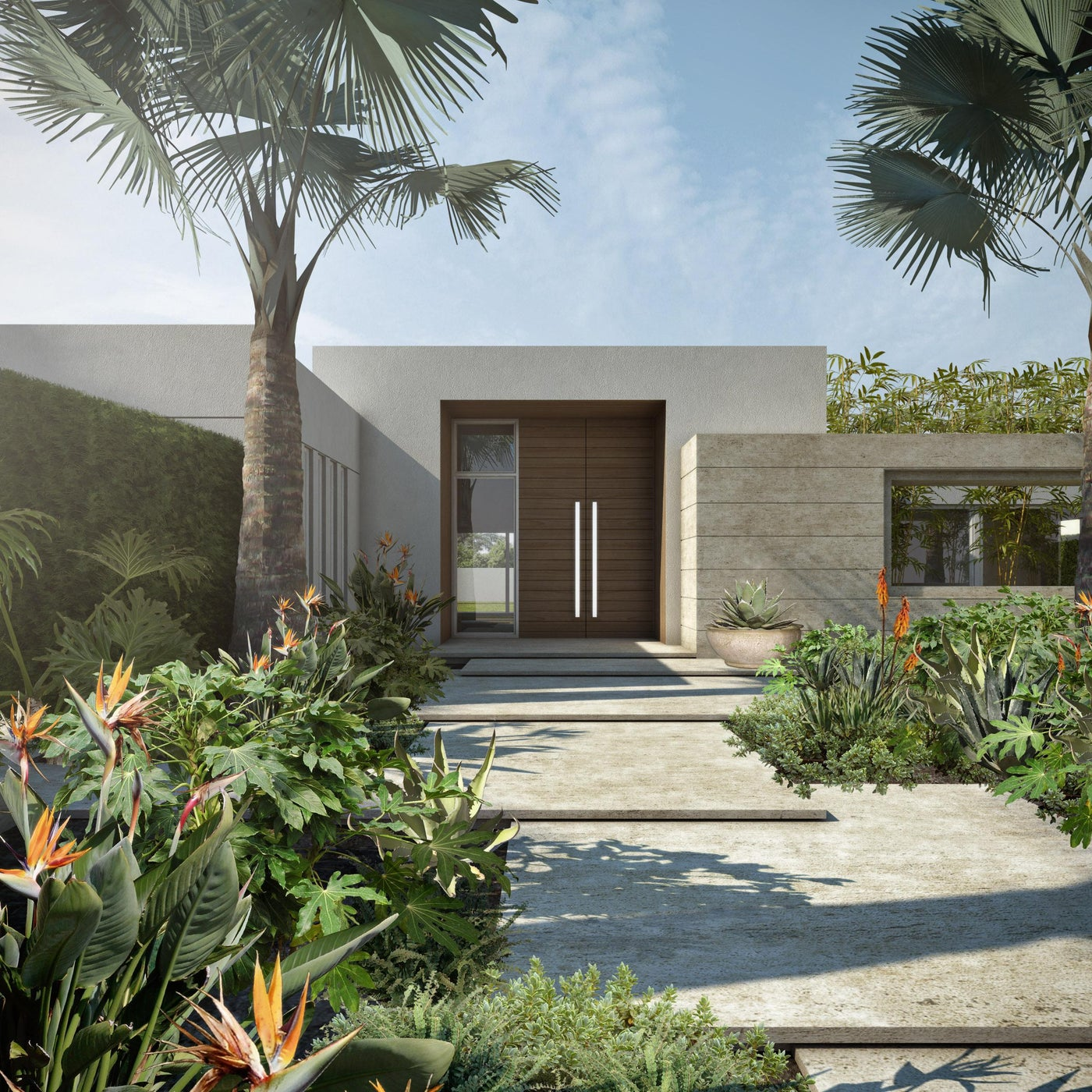 Floating coral terraced procession to a Tropical Modern home in Palm Beach.