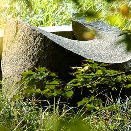 Sculptural detail in garden.