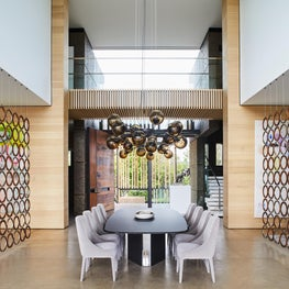 Dining room surrounded by floating screens