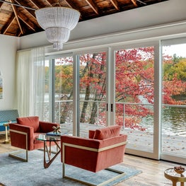 LAKE HOUSE MODERN LIVING,  CHANDELIER,  RECLAIMED WOOD, SATURATED COLOR VELVET