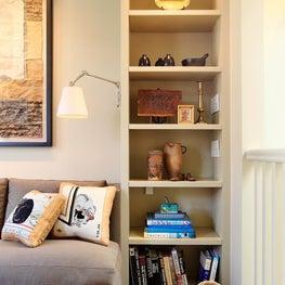 Bookshelf detail in family room