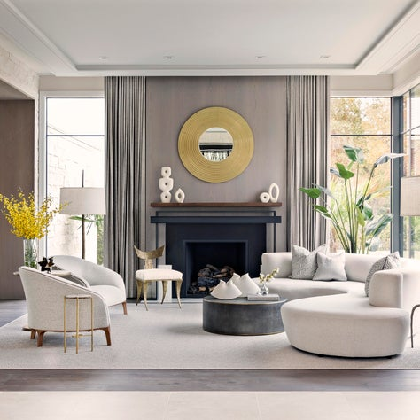 Stylish Formal Living with Gold Accents