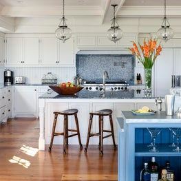 Traditional White Kitchen with a Coffered Ceiling in Edgartown Martha's Vineyard