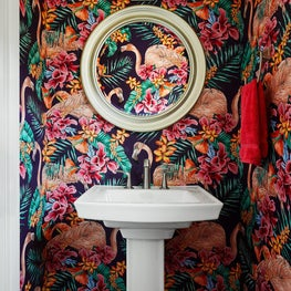 Logan Square chicago, bathroom with colorful wallpaper