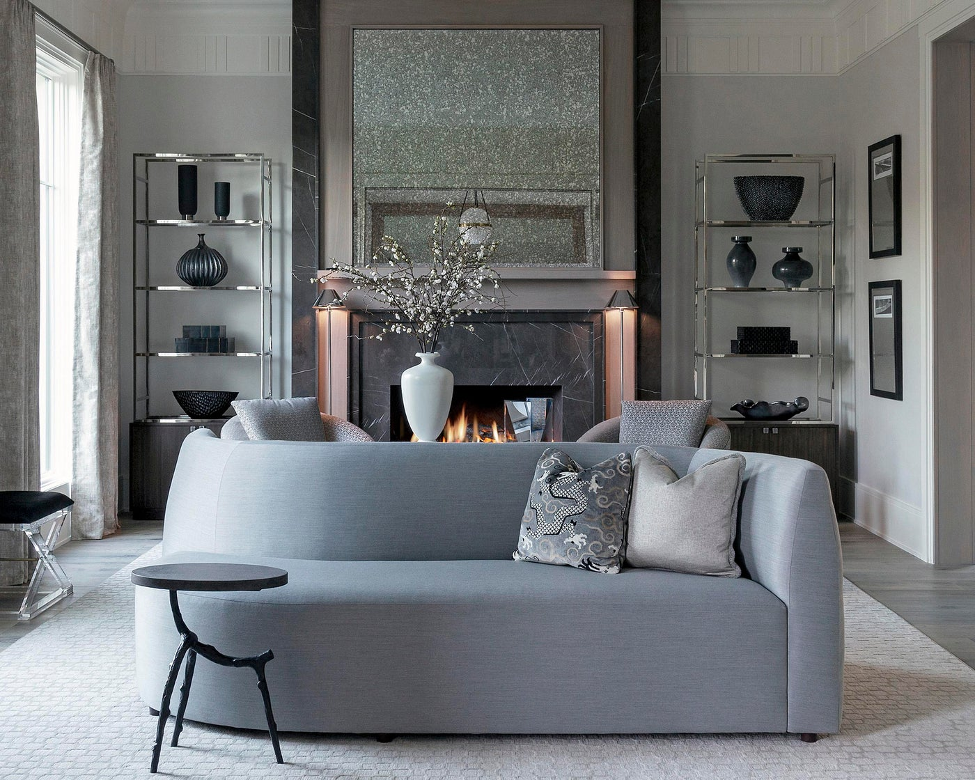 Formal Living with Silver Accents