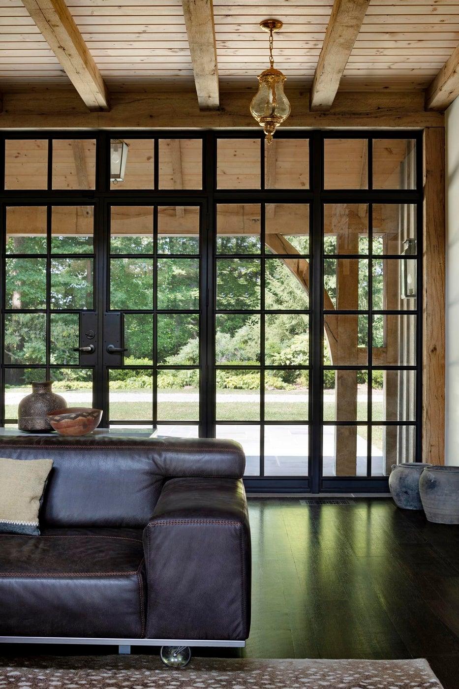 Sitting Room with floor to ceiling steel windows