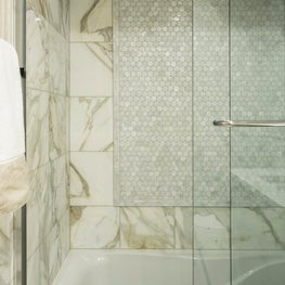 Park Slope Brownstone, Calacatta Gold and Mother of Pearl tile