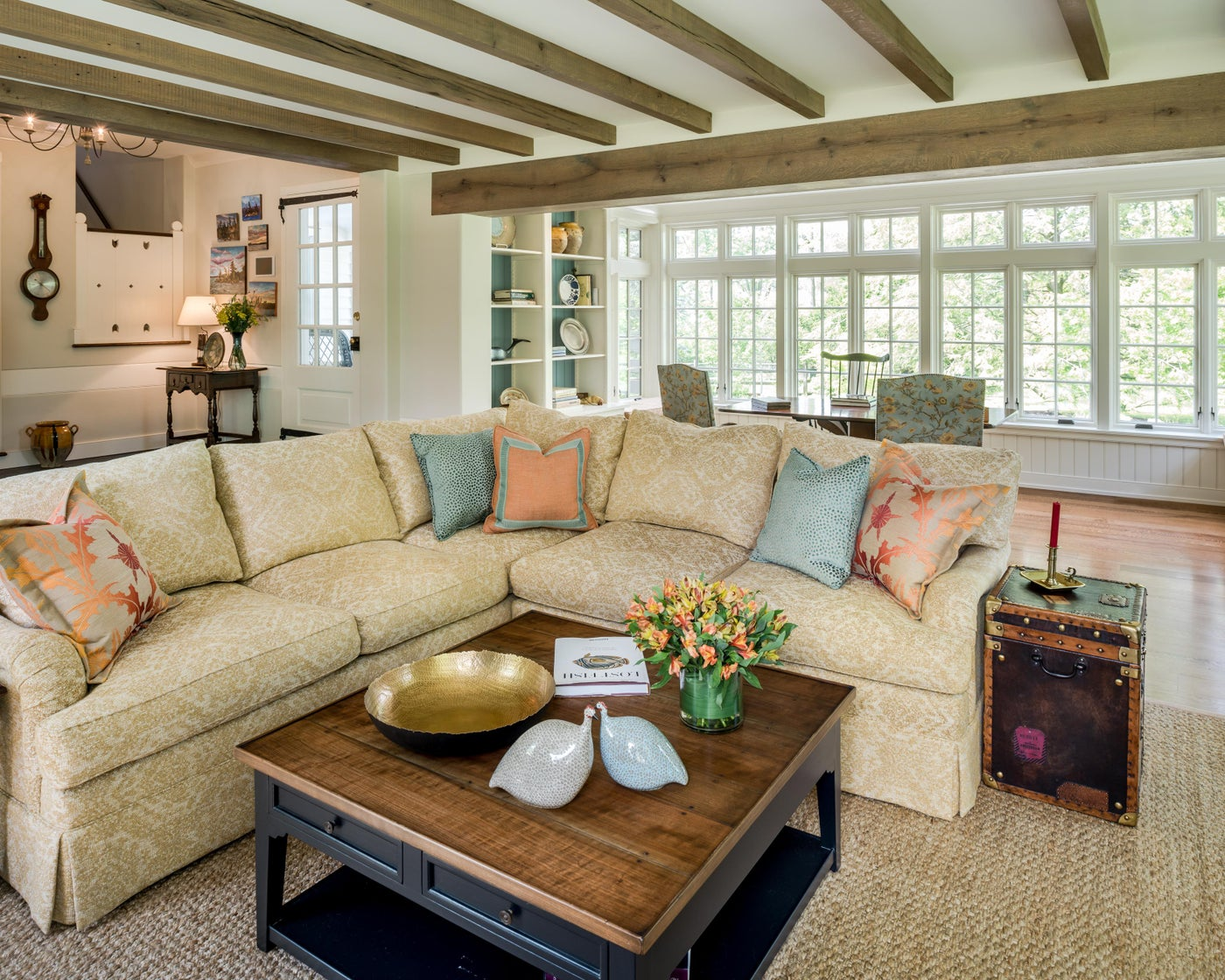 Family Room Addition with home office and rustic wood beams in Berwyn, PA