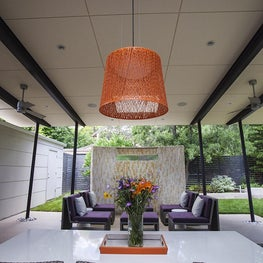 North Boulder Home - Covered Patio with Janus et Cie furniture and orange woven light fixture