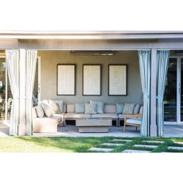 Inviting Outdoor Living Room  - The artwork is made from tile with a teak frame