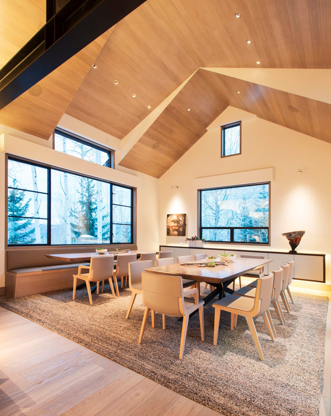 Snowmass Village, Aspen Two Creeks Remodel- Dining Room- multiple seating